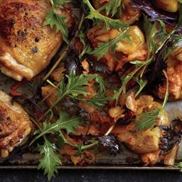 Roast Chicken and Kimchi Smashed Potatoes