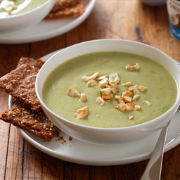 Roasted Garlic Avocado Soup with Herbed Yogurt Crackers