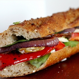 Roasted Vegetables Baguette Sandwich