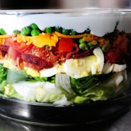 Salad - 24 hour Loaded veggie, cheese and bacon layered