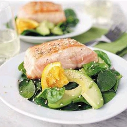 Salmon, spinach, and avocado salad with orange vinaigrette