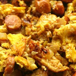 Scrambled Eggs with Chorizo Sausage