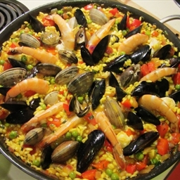 Spanish Paella Mixta - with prawns, mussels, clams and peas