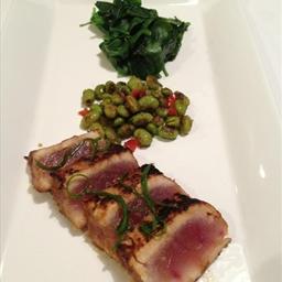 Seared Ahi Tuna with Blistered Edamame