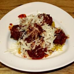 Spaghetti Squash Marinara with Chicken Meatballs