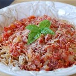 Turkey Spaghetti with Sauce over Noodles