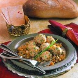Spiced Chicken Meatballs in Split Pea Pilaf