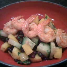 Spicy Black Bean Salad with Sesame-Ginger Shrimp