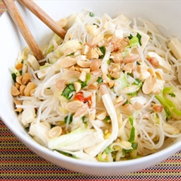 Spicy Rice Noodle Salad with Cabbage and Tofu
