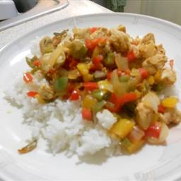 Spicy Rosemary Chicken and Bell Pepper stir-fry
