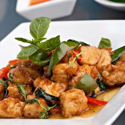 Spicy Stir-Fried Tofu with Basil and Eggplant