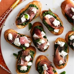 Spinach-Mint Pesto Toasts With Proscuitto and Goat Cheese