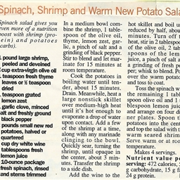 Spinach, Shrimp, and Warm New Potato Salad