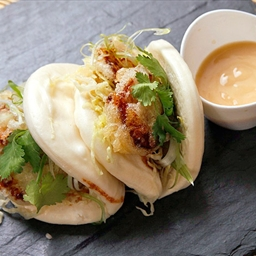 Steamed Buns with Tempura King Oyster Mushrooms and Agave-Miso Mayonnaise (