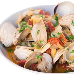 Steamed Clams with Chorizo in White Wine Broth