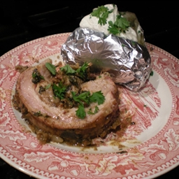 Stuffed Breast of Veal with Sausage, Mushrooms and Swiss Chard