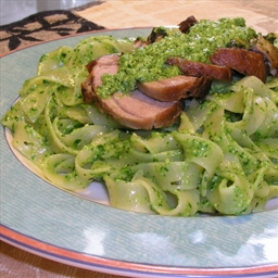Stuffed Pork Tenderloin On Pesto Tagliatelle