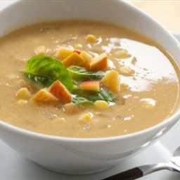 Sweet Corn Soup with Peaches
