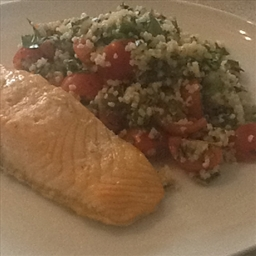 Tabbouleh with roasted spiced salmon