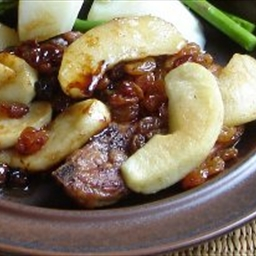 Thick Pork Chops with Spiced Apples and Raisins