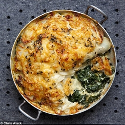 Three cheese, spinach and potato pie