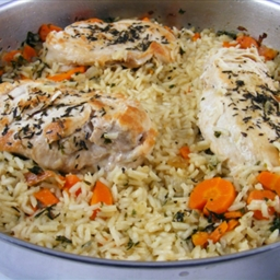 Thyme Chicken and Rice Skillet Dinner