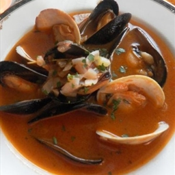 Tomato Soup with Mussels and Pesto