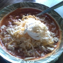 Vegetarian Chicken Chili With Crushed Tortilia Chips and Cheese