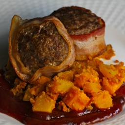 Venison Meatloaf with Blackberry BBQ Sauce and Buffalo Sweet Potato/Pumpkin