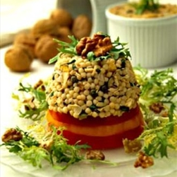 Walnut Couscous and Tuna Tower