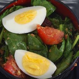 Wilted Spinach Salad with Warm Bacon Dressing
