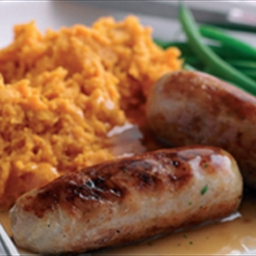 YourFamily Mag: Lamb Sausages with Sweet Potato Mash