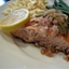 Broiled Salmon with Artichoke in a Lemon Shallot Sauce