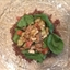 Chicken apple salad with red quinoa and spinach