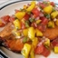 Grilled Salmon with a Pineapple, strawberry, mango salsa