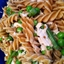 Pasta- Cream Sauce, with Chicken, Asparagus, Peas