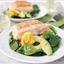 Salmon, spinach, and avocado salad with orange vinaigrette