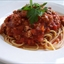 Bison Marinara with Oven Roasted Mushrooms over spaghetti