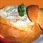Spinach Dip inside a Cob Loaf