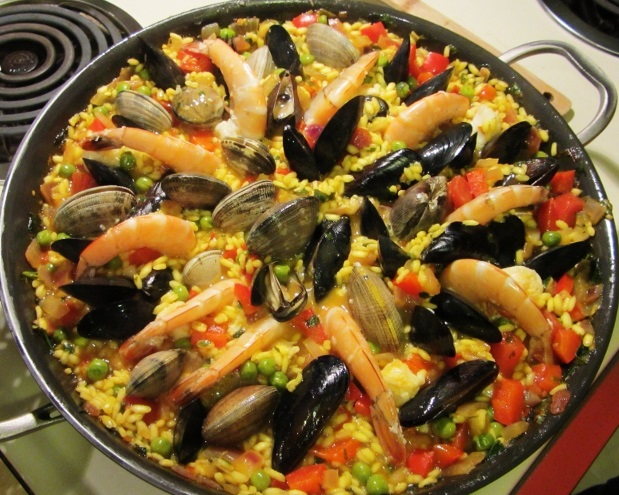 "Spanish ""Paella Mixta"" - with prawns, mussels, clams and peas ..."