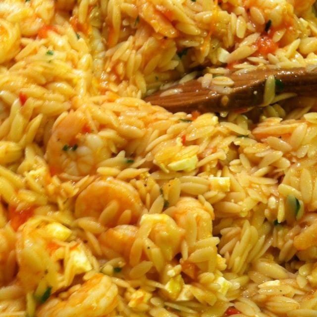 Recipes Course Main Dish Fish and Shellfish Shrimp Orzo with Feta