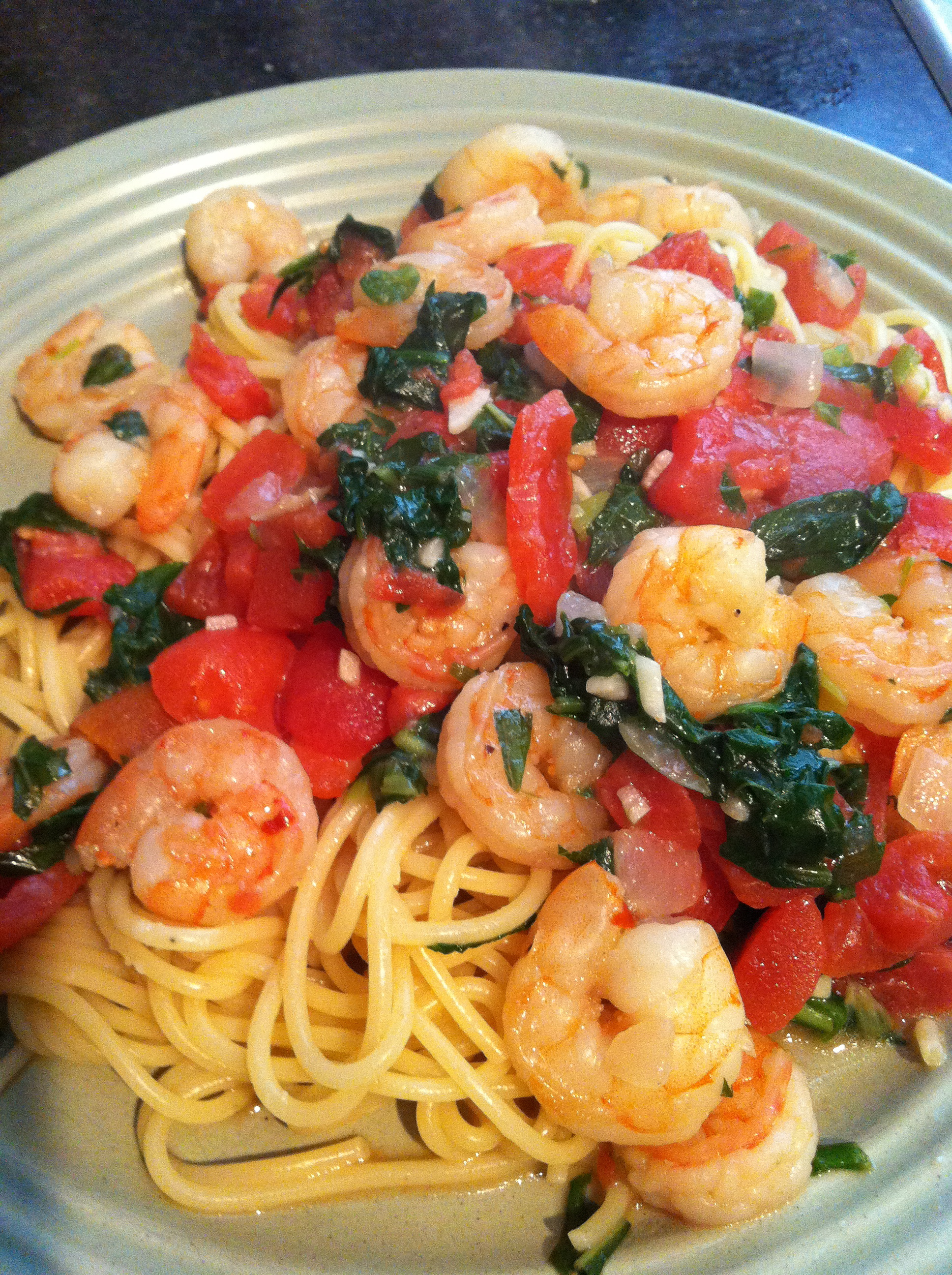 Recipes Course Main Dish Pasta Shrimp pasta with basil and spinach