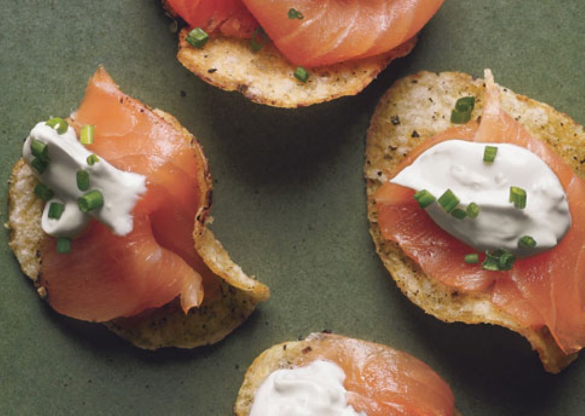 ... Smoked Salmon with Black Pepper Potato Chips and Lemon Creme Fraiche