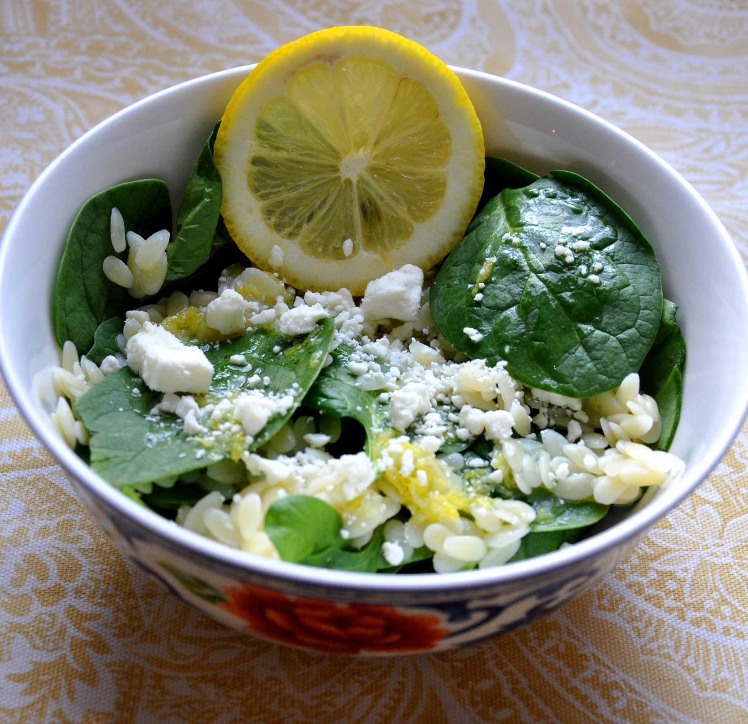 Recipes Course Salad Green Salads Spinach Salad with Orzo and Feta